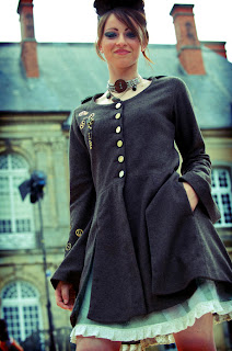 steampunk frock coat and petticoat by French fashion designer