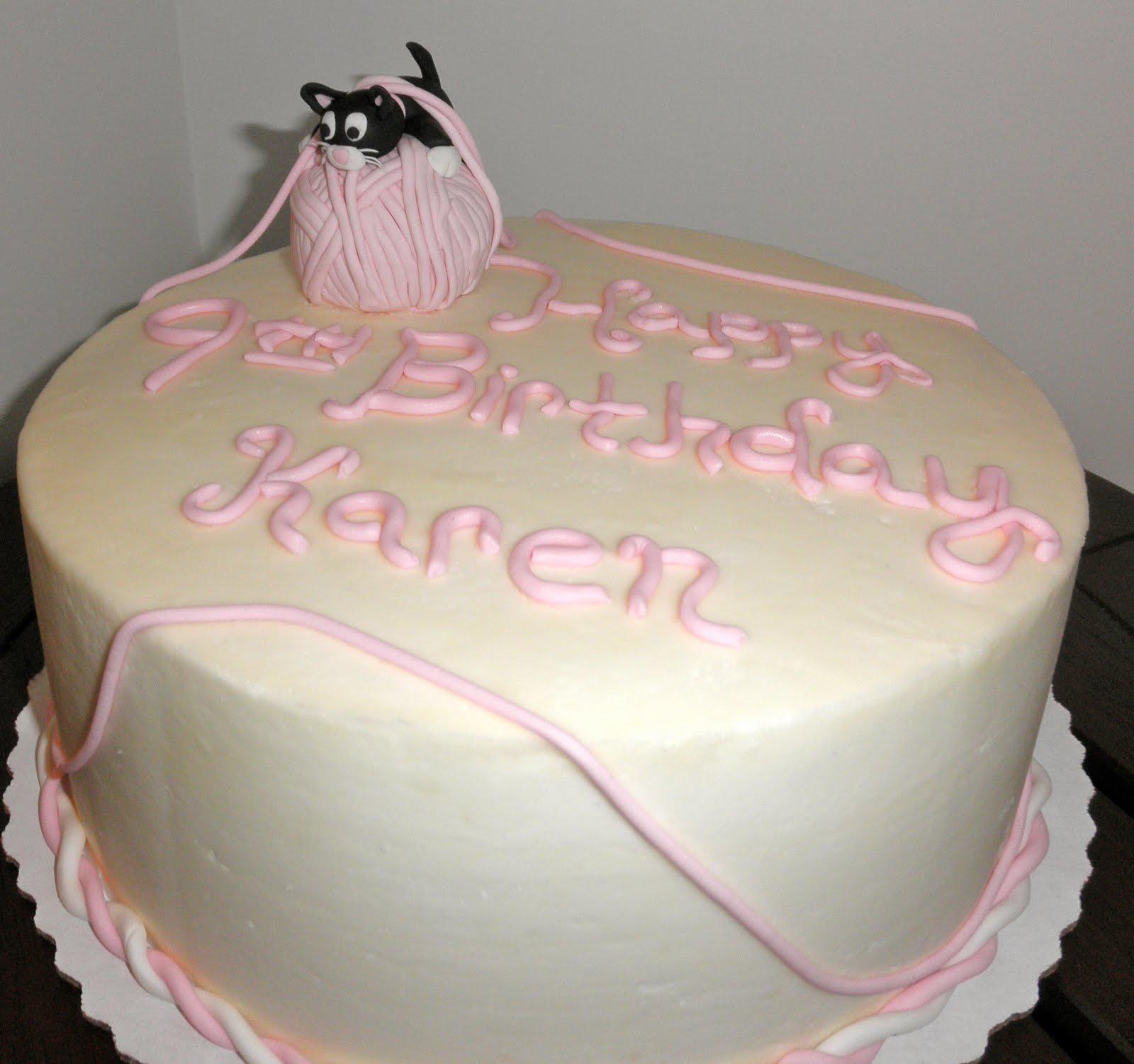 Sweet T's Cake Design: Black & White Cat On Pink Ball Of