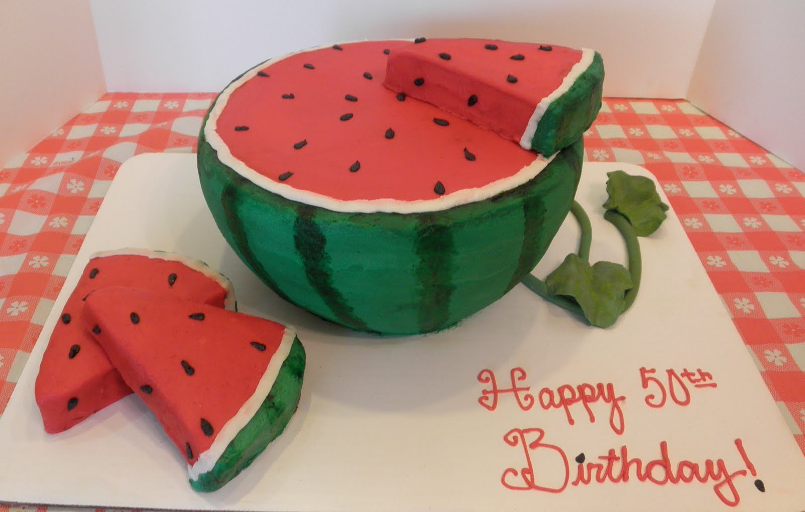 Sweet T's Cake Design: Watermelon Sculpted Birthday Cake