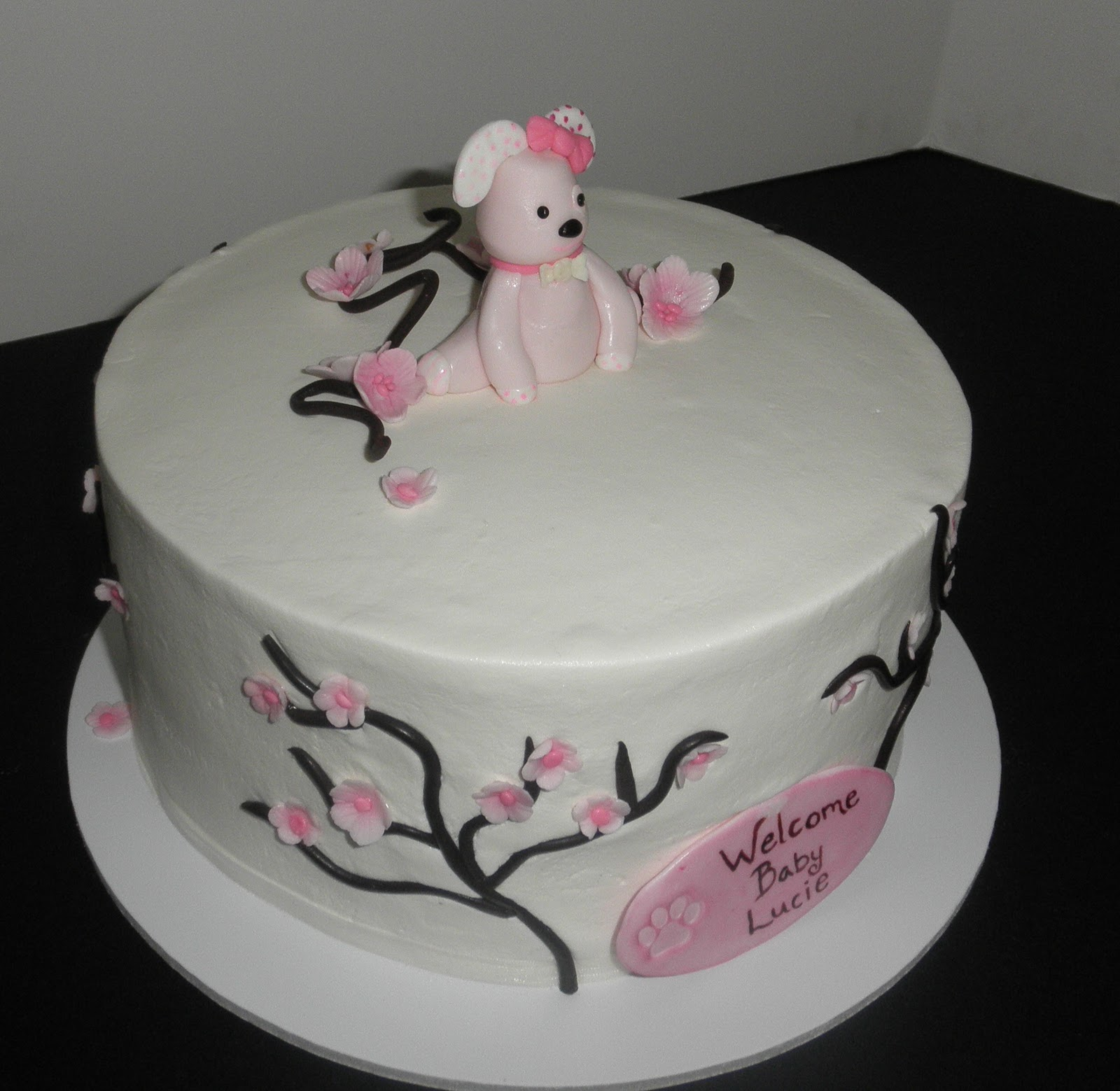 Sweet T's Cake Design: Cherry Blossom Pink Puppy Baby Shower