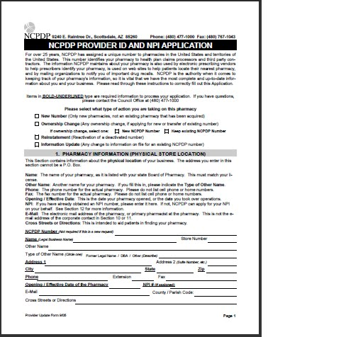 NCPDP PROVIDER ID AND NPI APPLICATION form Medicare Fee, Payment