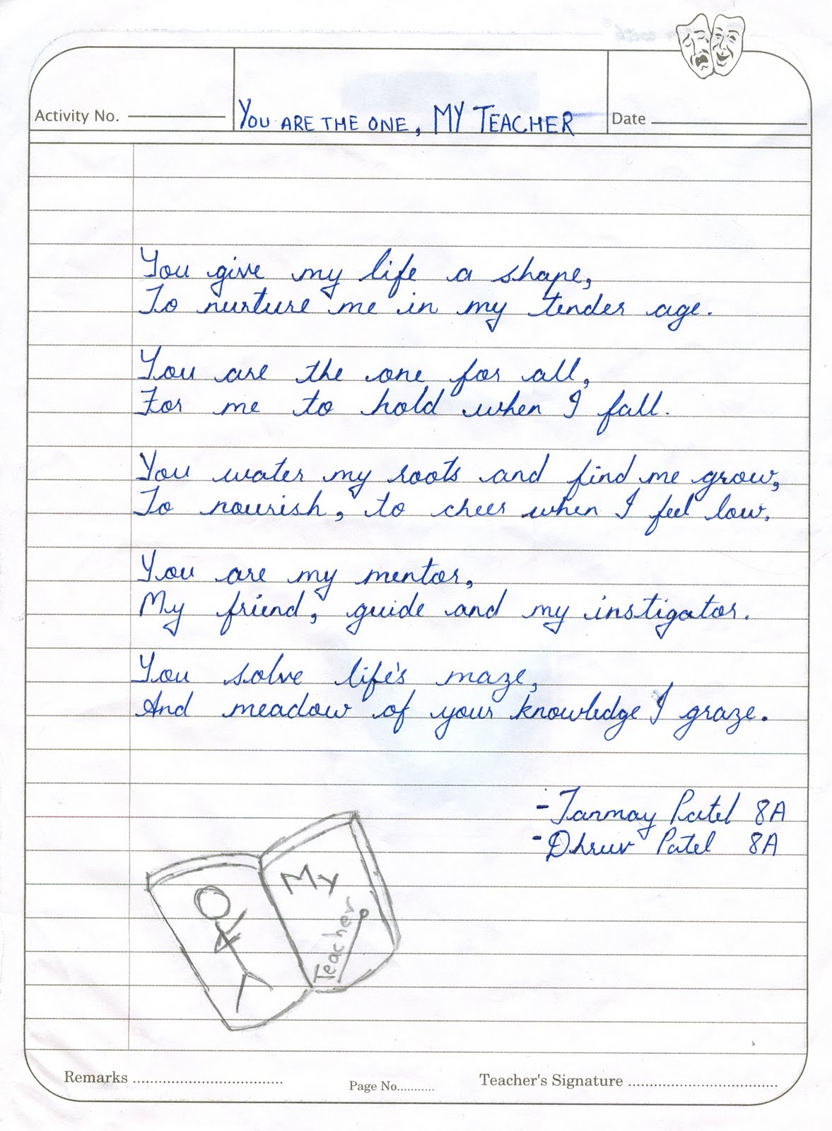 Teacher and Student: Poems by Class 8 Students - Atmiya