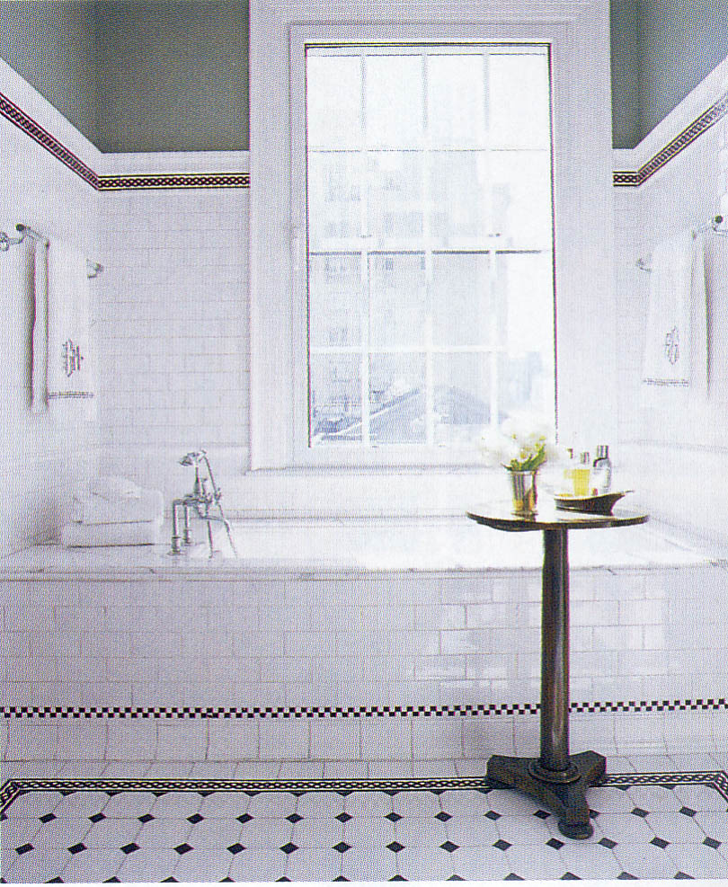 What 39 goes with 39 shiny white subway tiles for Classic bathroom tile designs