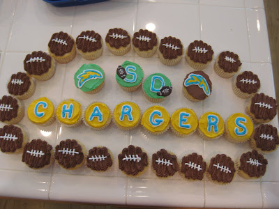 football cupcakes, chargers cupcaks