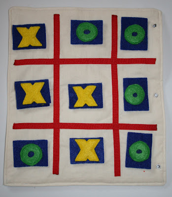 quiet book tic tac toe board idea