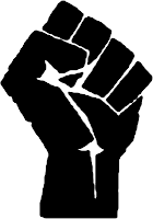 Woodcut form of a raised fist, adapted from http://www.tomrobinson.com/trb/stencil.htm