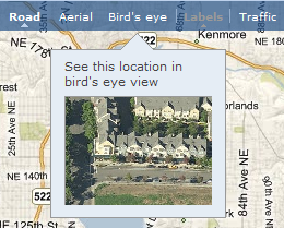 Bird's eye toolbar setting