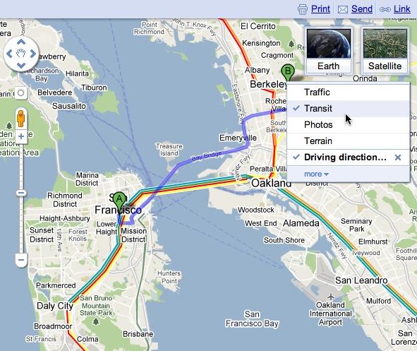 Calque affichant des informations sur les transports en commun dans Google Maps.