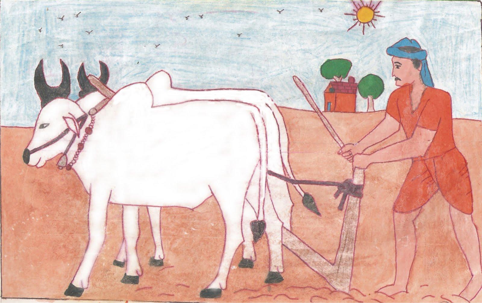 pencil sketch of a hard working Farmer on field   My ...