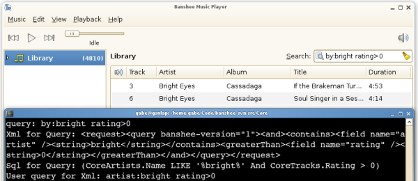 Searching in Banshee, showing query parsing and XML/SQL generation