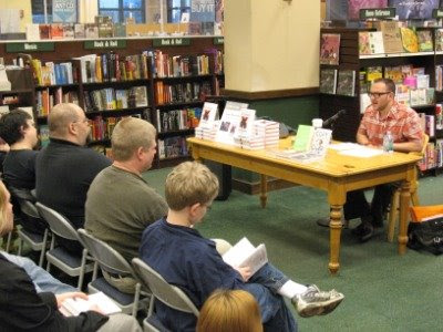 Cory Doctorow reading from Little Brother at a signing in Chicago