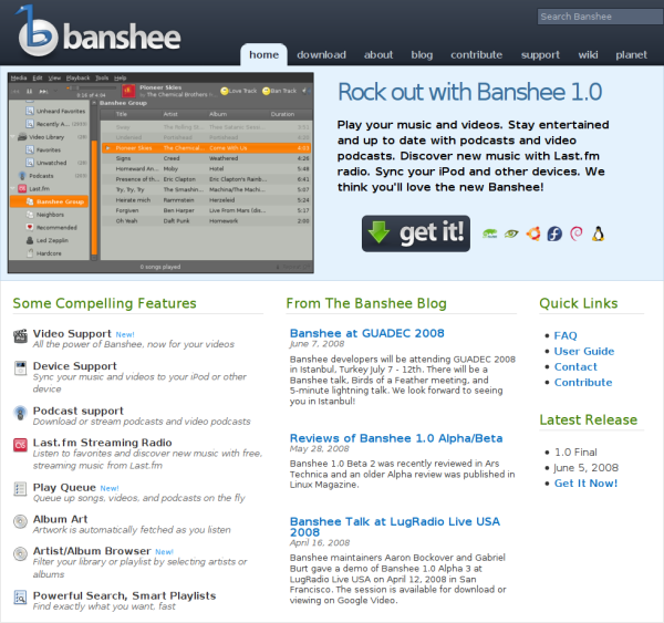 Screenshot of Banshee's new website
