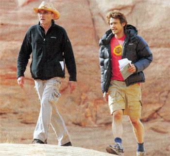 James Franco und Danny Boyle am Set von 127 Hours