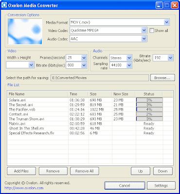 скриншот программы Oxelon Media Converter