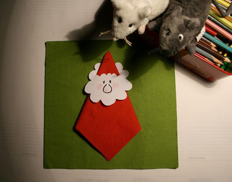 A casa di eli per l 39 ora del t il tovagliolo babbo natale - Decorazioni natalizie con tovaglioli di carta ...