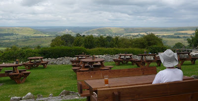 View from pub garden down to Corfe Castle