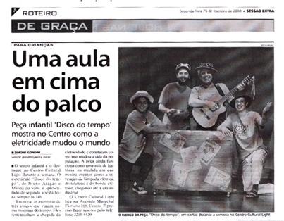 """MATÉRIA NO JORNAL EXTRA SOBRE A PEÇA """"DISCO DO TEMPO"""", NO CENTRO CULTURAL DA LIGHT"""