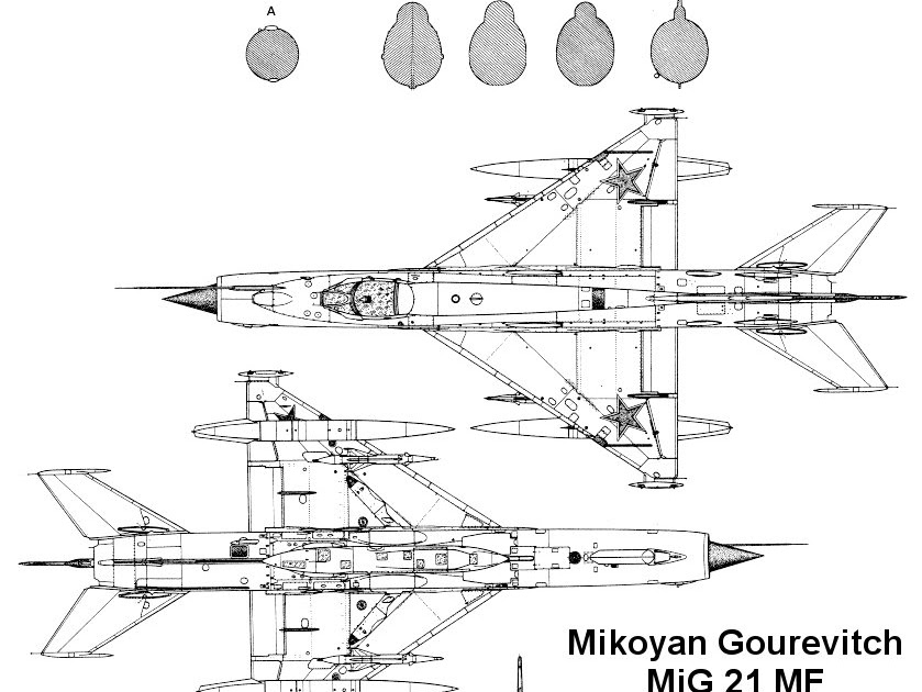 military picture: Mikoyan-Gurevich MiG-21 3 view drawing
