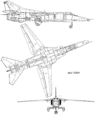 military picture: russian mig23 fighter airplane 3view drawing