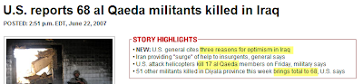The sub-headline reports 68 militants dead, but the title?