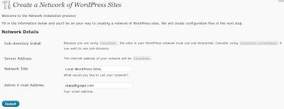 Install MultiSite WordPress 3.0