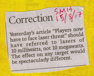 newspaper cutting re correction