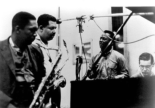 Recording sessions for Kind of Blue. From left: John Coltrane, Cannonball Adderley, Miles Davis and Gil Evans at the piano