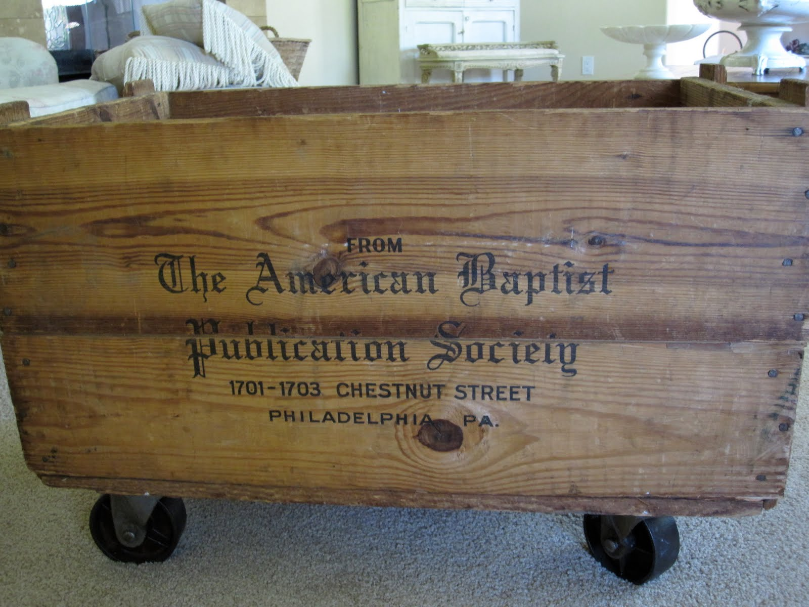 Great Looking Storage: Wooden Antique Crate With Casters