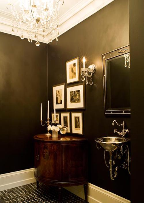 Photos Powder Room With Olive Walls Tureen Varied Oil Dispensers Pottery From Crate And Barrel Home Plaque Blue