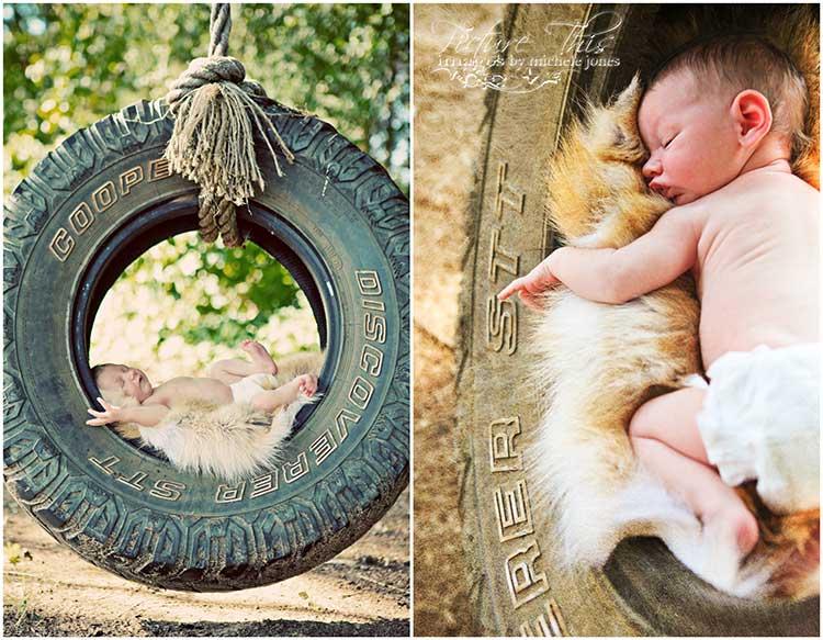 In a tire swing tyler texas newborn photography