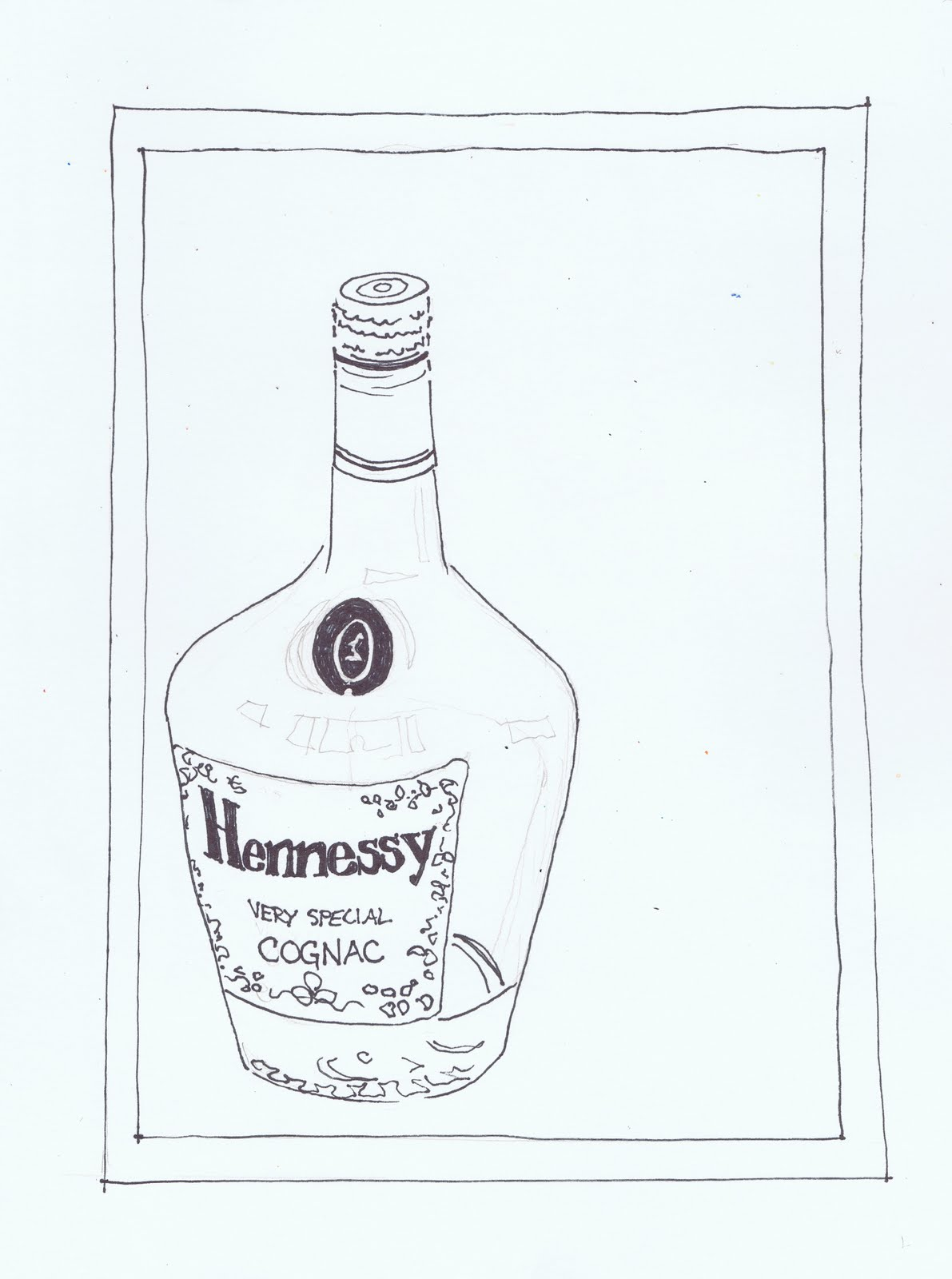 Hennessy Bottle Label Template Sketch Coloring Page