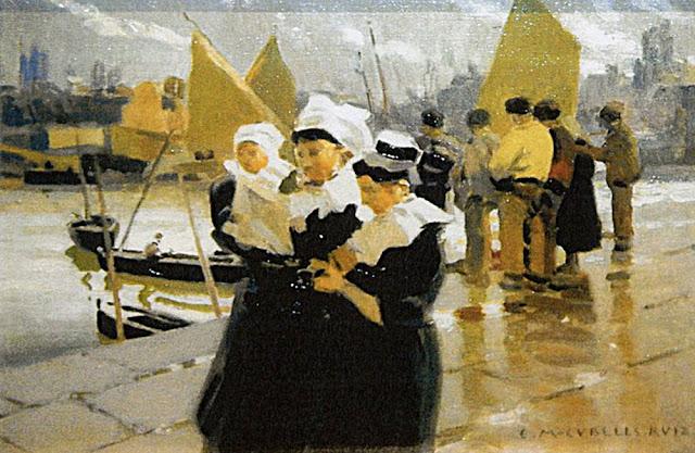 Bretonas en el puerto, Enrique Martínez Cubells, Pintor español, Pintores españoles, Martínez Cubells, Paisajes de Enrique Martínez Cubells, Pintores Valencianos