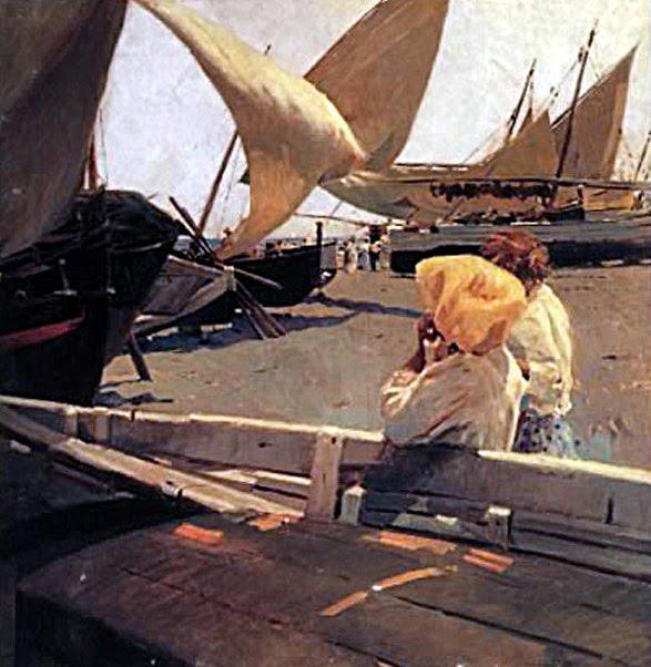 Esperando la pesca, Enrique Martínez Cubells, Pintor español, Pintores españoles, Martínez Cubells, Paisajes de Enrique Martínez Cubells, Pintores Valencianos