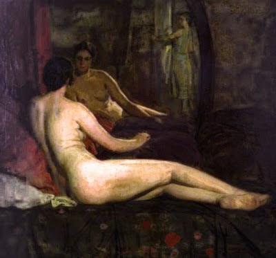 Desnudo del espejo, Anselmo Miguel Nieto, Pintura Española, Pintores Españoles, Pintor Español, Mujer desnuda, Mujeres desnudas, Obras Anselmo Miguel Nieto