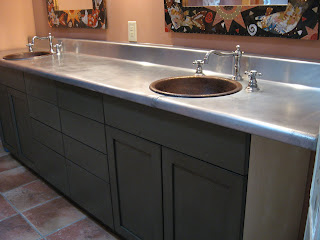 Zinc Bathroom Sinks heavy metal works: zinc counter top - bathroom vanity