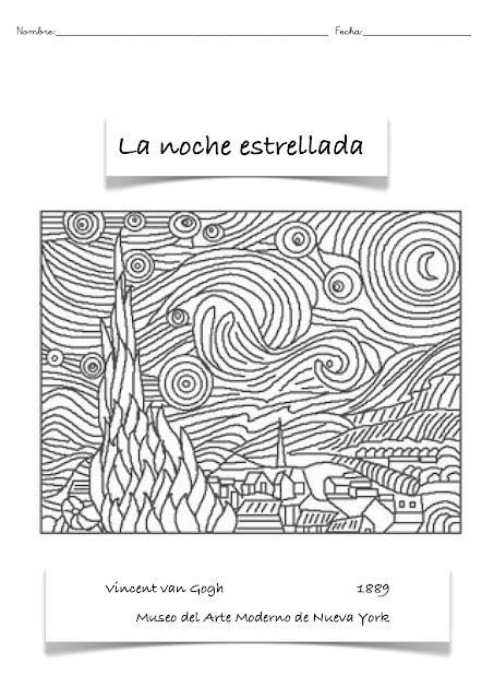 Colorean la noche estrellad Van Gogh