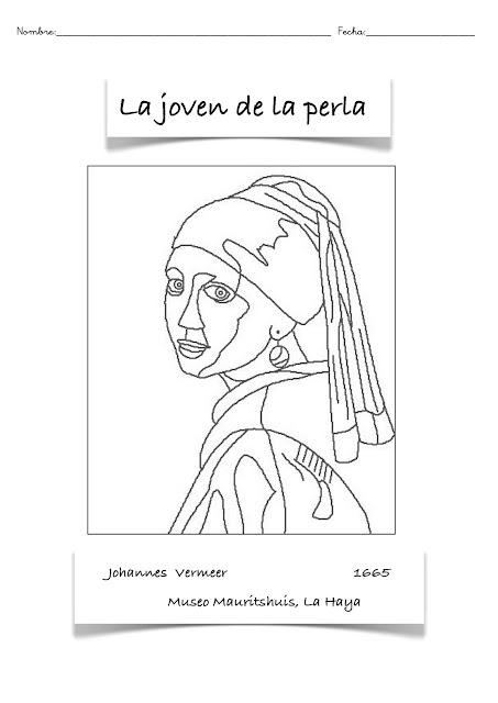 1 - Colorear ibujo de la pintura la joven de la perla
