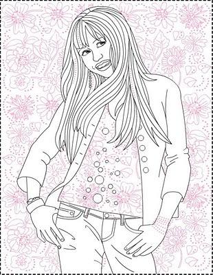 Hannah Montana Miley Cyrus 02 coloring page | 400x310