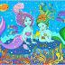 Mermaids and Goldfish coloring page  Desen de colorat cu sirene