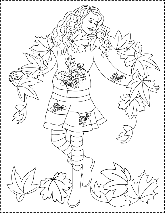 AutumnPrincess10Contur Fashion Coloring Pages