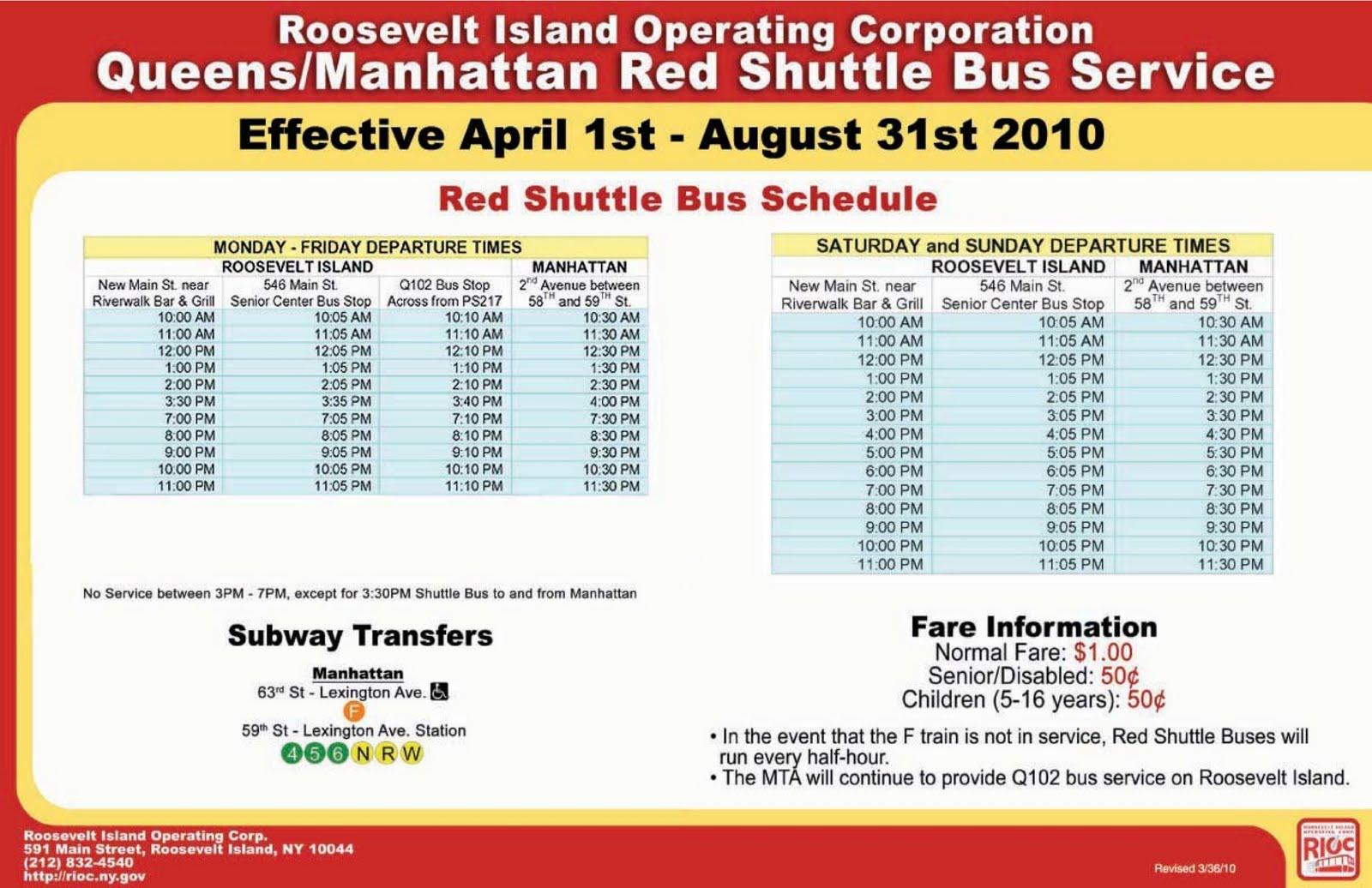 Roosevelt Islander Online Roosevelt Island Rush Hour Red