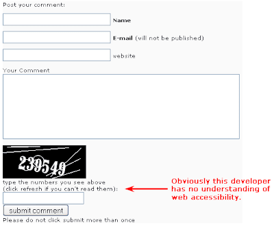 form with text under captcha field 'click refresh if you cant read the numbers'