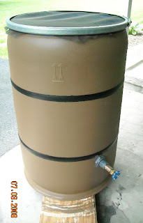 Completed rain barrel with spigot