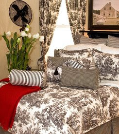French Country Toile Bedding In Black