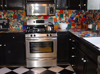 Julia di Biasi mosaic tile kitchen countertop and backsplash photo