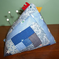 log cabin patchwork chicken