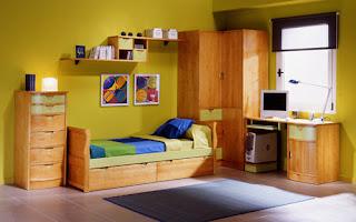habitacion pino con armario de rincon