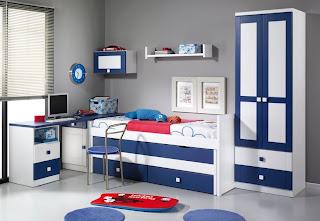dormitorio infantil blanco y azul