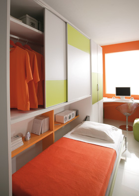 Habitacion cama abatible good dormitorio juvenil cama for Amazing camas abatibles