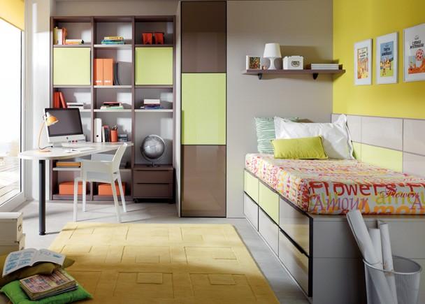 Dormitorio Individual Con Cajones Abajo,armario,estanteria Y Mesa De Estudio